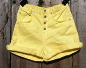 Vintage High Waisted Yellow Shorts with Snap Button and Cuff