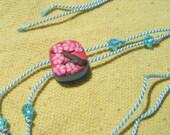 Millefiori  cherry blossom branch polymer clay bead on light blue natural silk cord with Swarovski crystal bracelet