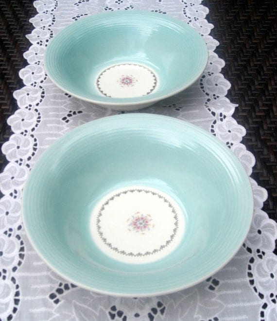 American Limoges  Empress Mist Cotillion Blue Triumph Vegetable Bowl Gold Floral Aqua Turquoise -2 Available