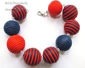 """Trendy Beach Nautical Polymer Clay Beaded Bracelet """"Santropez"""""""