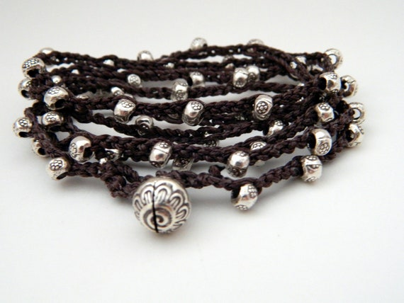 Hill Tribe Silver Print bead crocheted necklace or 5x wrap 34 inches chic Jingle Bell Charm Closure