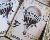 Hot Air Balloon Save the Date Banner Bird Elegant Vintage Style - Whimsical Shabby Chic - Rustic Wedding Invitations Annoucements