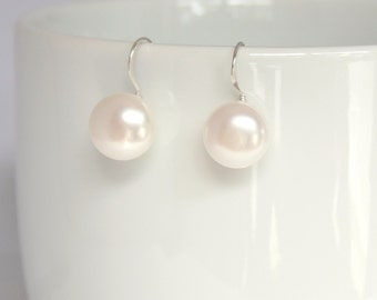 Beautiful fresh water pearl bead earrings in 925 sterling silver French ear wire. Bridal earrings, Bridesmaids earrings.