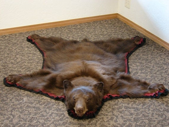 small real black bear rug or wall hanging great for your country home or cabin - Bear Rugs