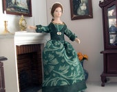 dollshouse doll 1:12 scale - Victorian Lady with winter green dress