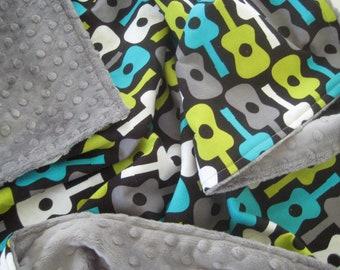 Groovy Guitar Minky Dot Baby Blanket-Choose Your Own Minky