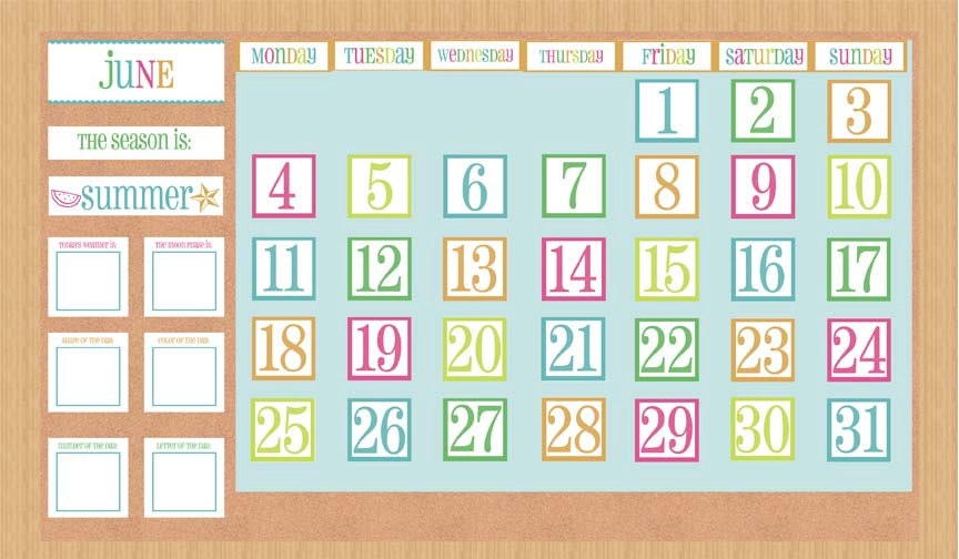 Classroom Calendar Days Of The Year : Classroom or homeschool year calendar set