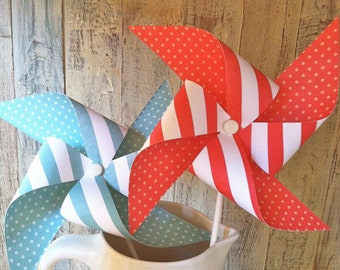 Paper Pinwheels - Vintage Red & Breakfast at Tiffanys striped Pinwheels -Set of 8