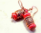 Jewelry earrings pierced coral textured copper metal barrel dangle earrings Bohemian Boho style summer fashion TAGT tenX