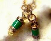 Earrings womens jewelry vintage green stone with gold chain gypsy kisses long dangle earrings for pierced ears TAGT tenX