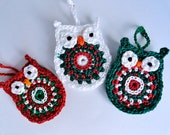 Owl Christmas Ornament in Red, Green and White // Set of Three // Crochet Ornament // Package Topper // Gift Tag