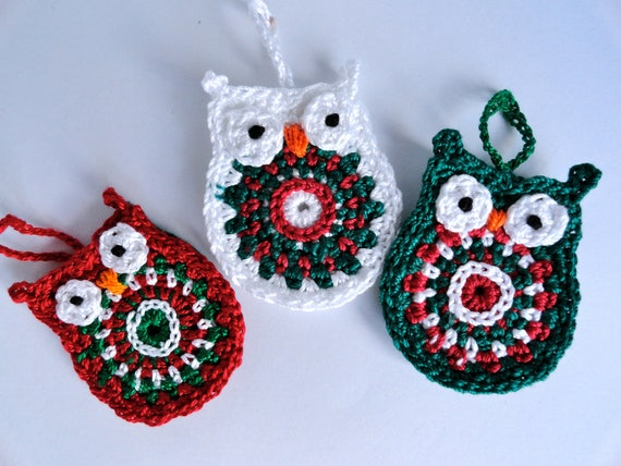 Owl Christmas Ornament In Red Green And White Set Of Three - Crochet christmas ornaments