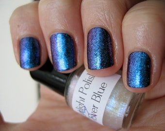 Ever Blue Duochrome Glass Fleck Top Coat Custom Nail Polish 15mL
