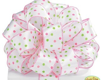 Pink and GreeN DOT RiBbOn -   FaNcY Sheer Wired Ribbon   Pretty Packages and Gifts - Hairbows - Giftwrap - Bows