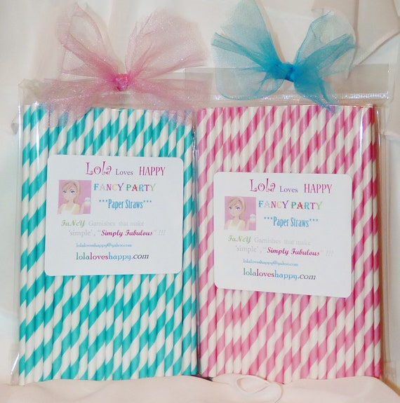 ShAbbY ChIc CoTTaGe Paper Straws, 50 assorted VinTagE Pink and ShaBBy Aqua Striped Paper Straws, Party, Wedding, Events