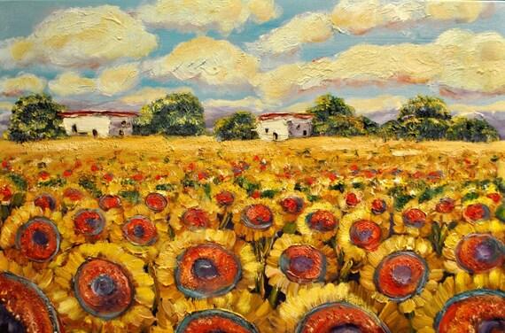 Tuscany Italy Sunflowers Original Oil Painting Fine Tuscan Art by Sarah Kadlic