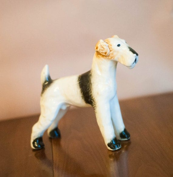 Large vintage ceramic dog figurine Airedale terrier country club chic