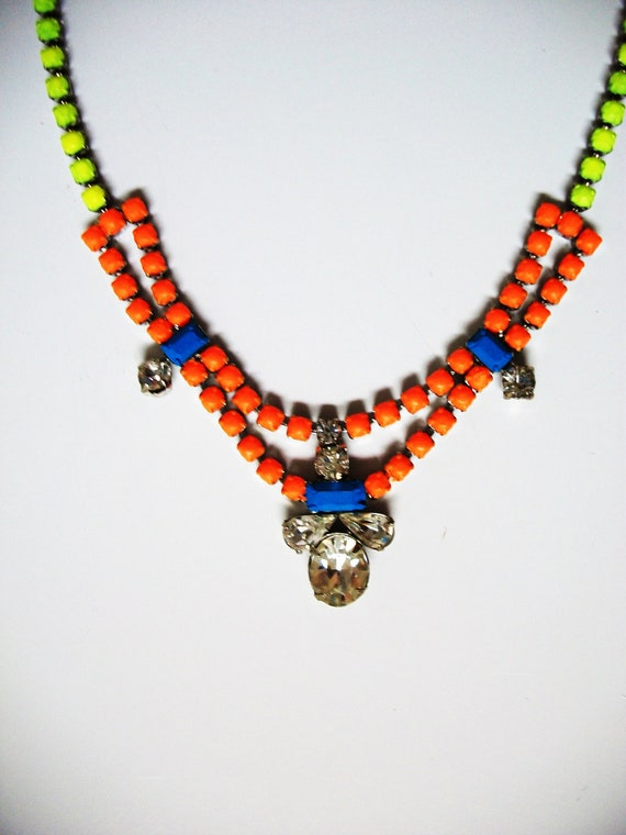 Vintage 1950s One Of a Kind Hand Painted Neon Yellow, Neon Orange & Blue Rhinestone Necklace