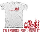 I'm Farming and I Grow it-Funny Country Girl Farm Animal Corn Tractor Barn Horse Cow LMFAO Sexy and I know it Spoof Womens White T-Shirt