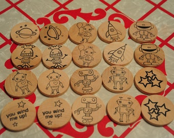 Waldorf- Match Up- ROBOTS- Wooden Memory Game