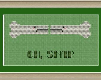 Oh, snap: cute broken bone cross-stitch pattern