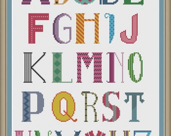 Fun alphabet sampler: cross-stitch pattern