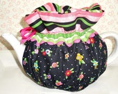 "Tea Cozy Cosy Handmade Designer Fabric  Reversible OOAK Unique  4-8 Cup "" Mary, Is That You """