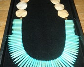 Turquoise,Wood Jasper beaded Statement necklace,Gold tone tribal beads