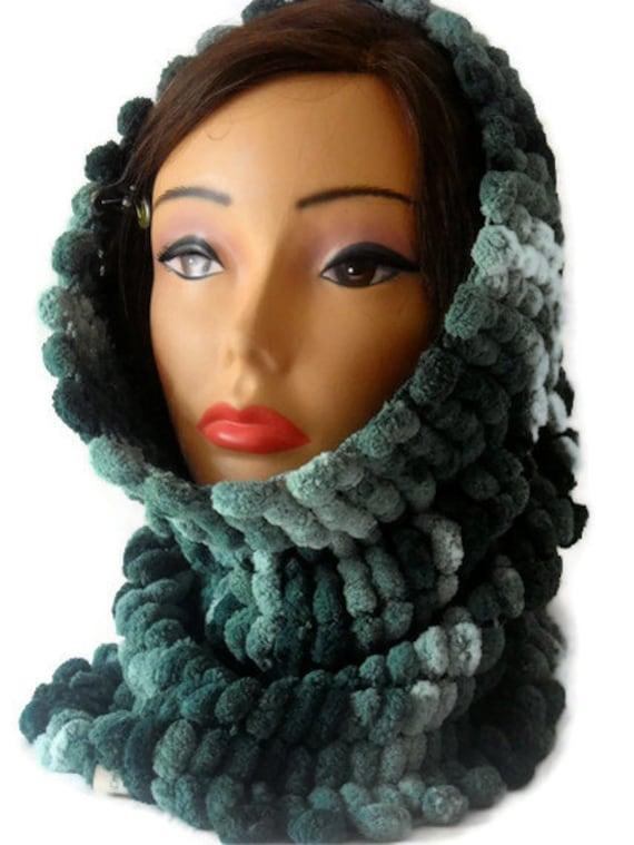 Knit Neckwarmer - Hand Knit Cowl Microfiber Unisex Teens Neck Warmer Tube Scarf Earswarmer Headband Green Bottle