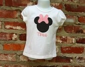 Minnie Mouse Applique Ruffle Sleeve T shirt--Size 12 Months to 5T