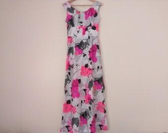 60s vintage Hawaiian floral maxi dress nylon medium