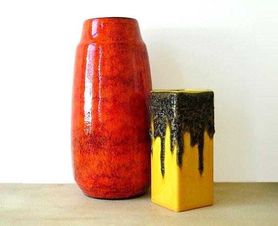2 Fat Lava Vases by FOHR, SCHEURICH  // Ceramic // Orange // Yellow // mid century