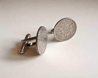 1959 Sixpence Coin Cufflinks, British 1959 Lucky Sixpence, 59th Birthday gift for him.