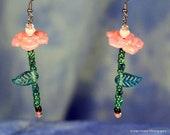 Fantasy Flower Fairy Style Rose Earrings