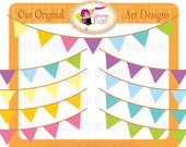 Colorful clipart Rainbow Bunting Party Clipart vivid colors Celebration elements digital pennant Candy colors Commercial use pf00030-18