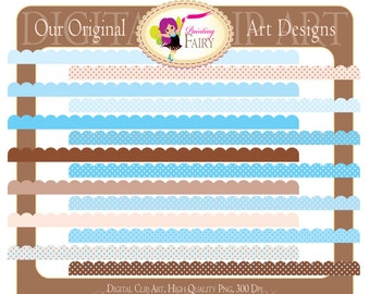 Digital Borders Scalloped Clipart Baby Shower Colors Clip art Baby Boy Babies Scrapbooking DIY images Personal & Commercial Use pf00020-5
