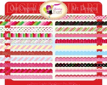 Digital Borders Scalloped Strawberry Clipart Embellishments Polka dots Strawberry candy colors Elements DIY strawberries images pf00027-6