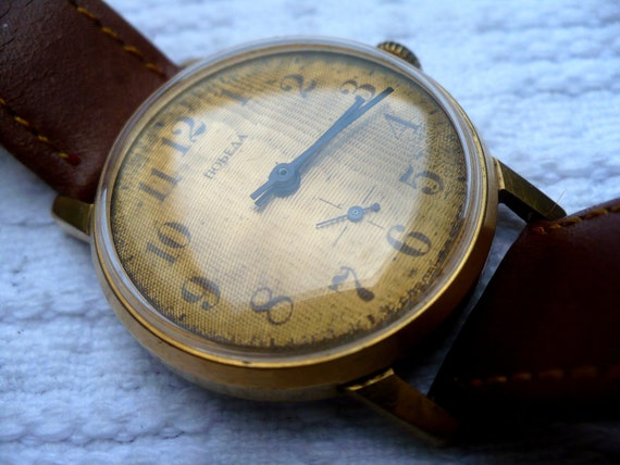 Soviet watch vintage gold plated Pobeda with extraordinary dial
