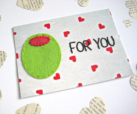 OLIVE FOR YOU postcard, a romantic greeting card just because you're in love