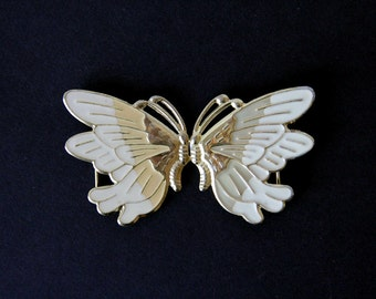 White & Gold Butterfly Belt Closure