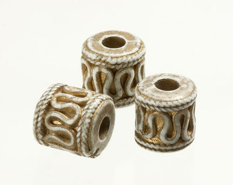 144Pcs 12mm Vintage Fancy Lucite Bead, Large Hole Gold Detail Barrel Bead Tube Cylinder Bead, Ivory Gold, Closeout Wholesale Supply