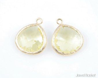2pcs - Jonquil Color and Gold Framed Glass Pendent / jonquil / yellow / lemon / 16k gold plated / glass / pendant / 15mm x 18mm / SJQG007-P