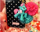 Deep Turquoise My Little Pony Flower Gold Bowknot Cellphone Dust Plug. Smart Phone Dust Plug Earphone Plugs Key Chain 4s 5 3GS