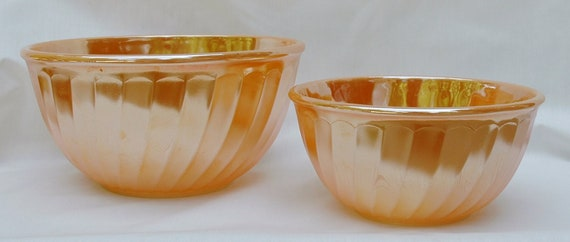 Peach Lustre mixing bowls, swirl pattern, Fire King, made by Anchor Hocking, set of two.