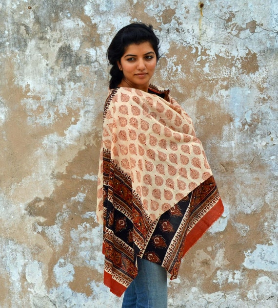 The Perfect Long Autumn Scarf - Hand Block Printed Leaves, Natural Vegetable Dyes, 100% Cotton Oversized Scarf, Pareo, Shawl, Wrap