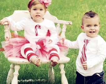 PERSONALIZED Candy Cane Matching Brother and Sister Sibling Christmas Outfits