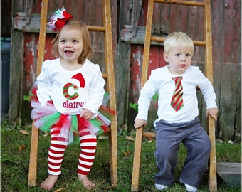 PERSONALIZED Matching Brother and Sister Sibling Christmas Outfits - Red and Green Candy Cane - Twins