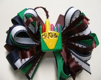 Preppy Back to School Boutique Crayon Hair Bow Stacked Layered 4 inch Toddler Girl Novelty Burgundy/Wine Navy Green