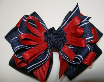 Large Back to School Hair Bow Toddler to Big Girl Boutique Uniform Navy Red