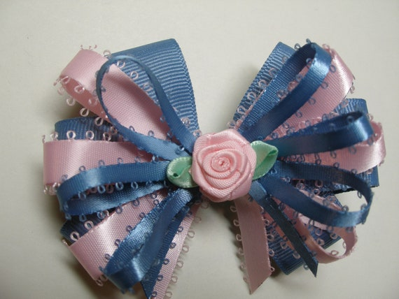 Chambray Blue Pink Hair Bow Boutique layered Toddler Girl Grosgrain Handmade